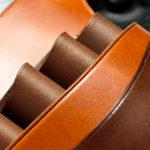 シザーケース フタ付きモデルS03-4 栃木レザーブラウン&イタリアンヌメ革チョコ