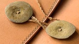 ジブン手帳mini 手縫い手帳カバー エルバマットキャメルと特注真鍮ボタン